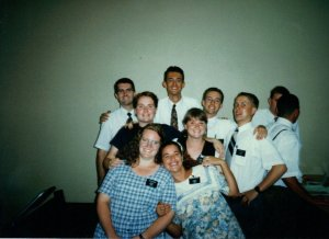 I'm the one in the front with the blue and white checkered dress.  Don't I look young and idealistic?